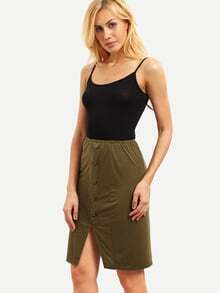 Army Green Single Breasted Split Skirt