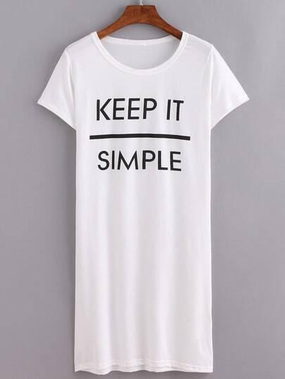 White Letters Print Split Tshirt Dress