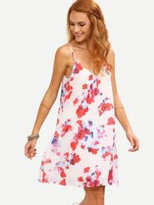 White Florals Chiffon Shift Cami Dress