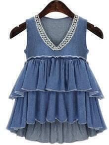 Crochet V Neck Blue Denim Tiered Top