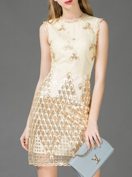 Beige Embroidered Sequined Sheath Dress
