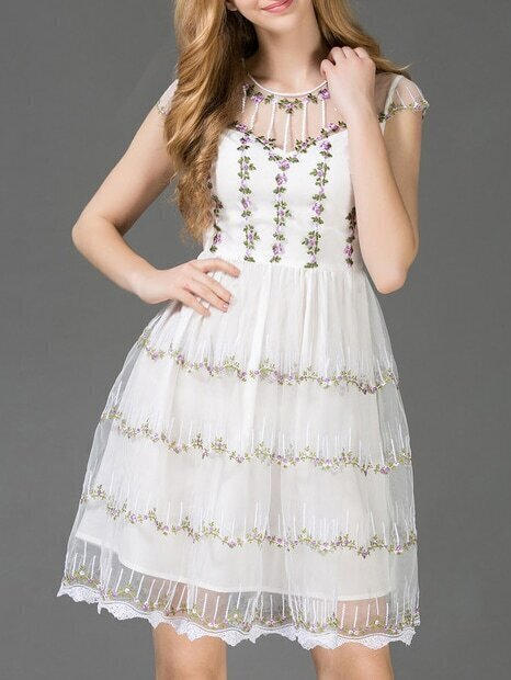 White Gazue Embroidered A-Line Dress