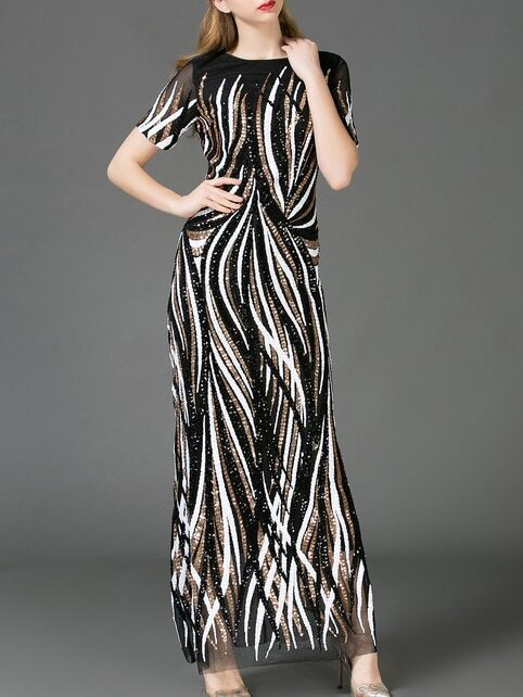 Black Gauze Sequined Maxi Dress