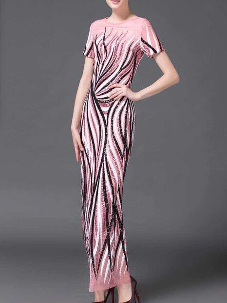 Pink Gauze Sequined Maxi Dress
