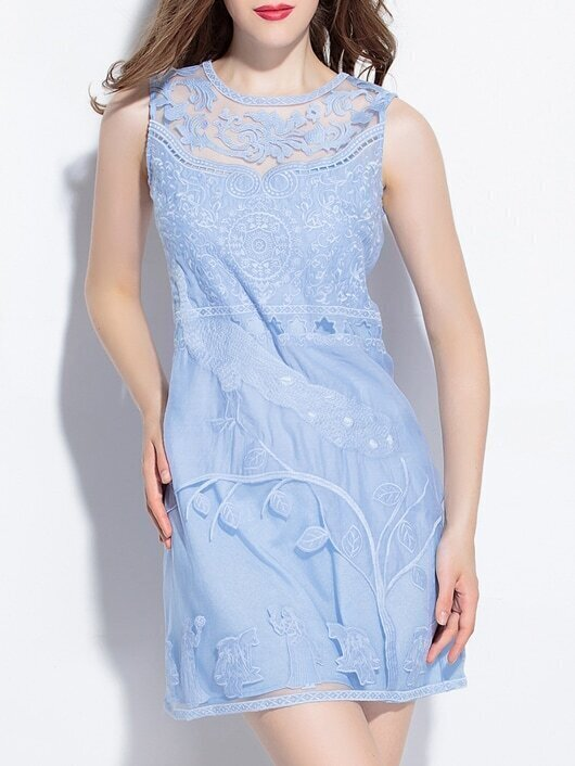 Blue Gauze Embroidered Sheath Dress