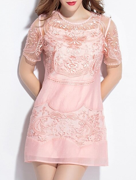 Pink Sheer Gauze Embroidered Shift Dress