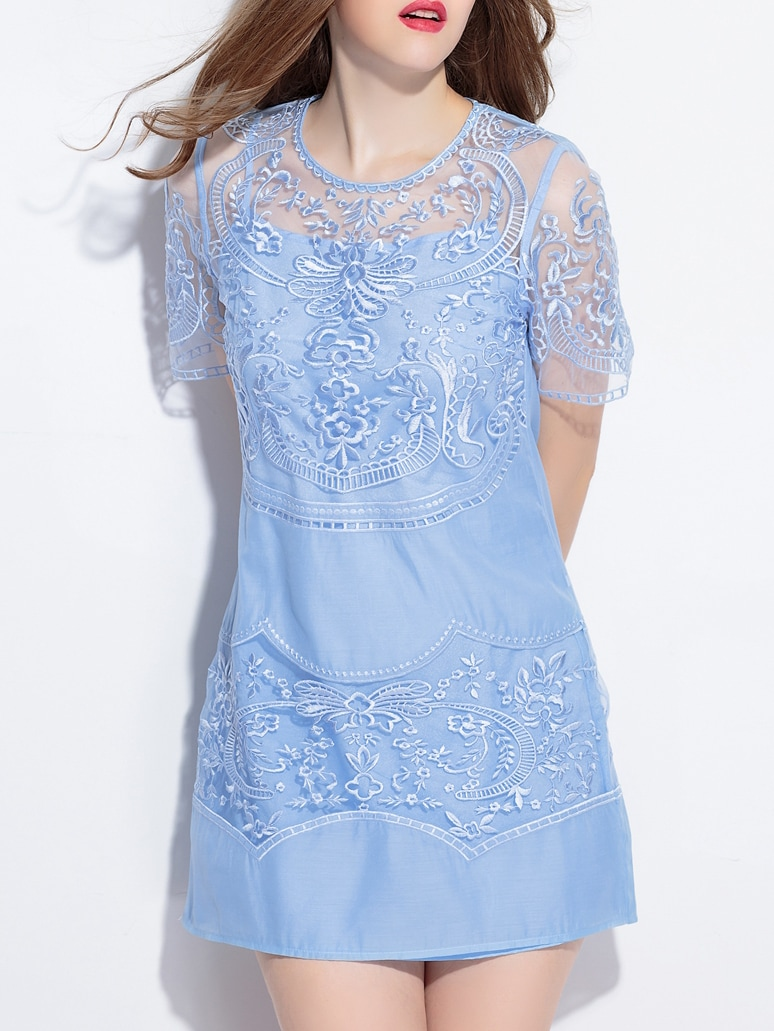 Blue Sheer Gauze Embroidered Shift Dress