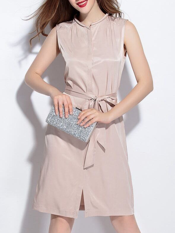 Nude Tie-Waist A-Line Dress