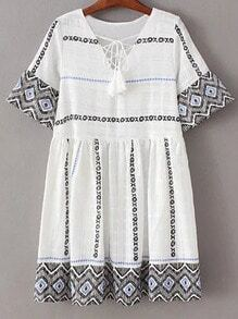 White Bell Sleeve Lace Up Front Tassel Embroidery Dress