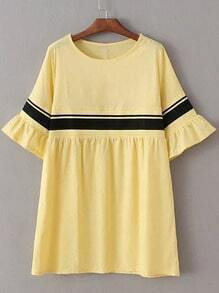 Yellow Ribbed Splicing Bell Sleeve Loose Dress