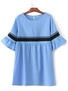 Blue Ribbed Splicing Bell Sleeve Loose Dress