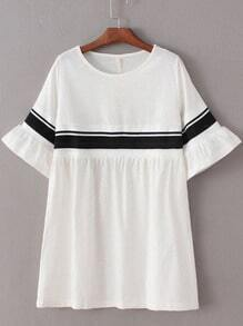 White Ribbed Splicing Bell Sleeve Loose Dress