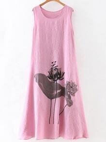 Pink Lotus Print Sleeveless Shift Dress