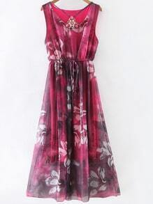 Red Gem Beadings Flower Print Tie Waist Maxi Dress