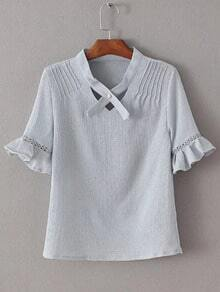 Grey V Neck Ruffle Cuff Short Sleeve Blouse