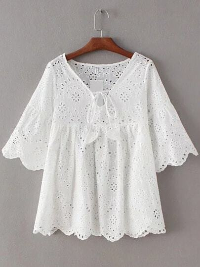 White Bell Sleeve Self Tie Front Scallop Edge Hollow Blouse