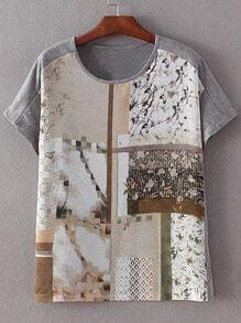 Grey Short Sleeve Split Side Print T-shirt
