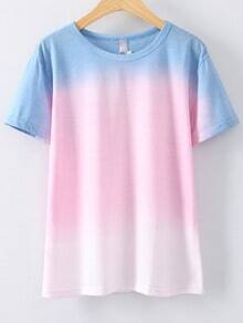 Multicolor Round Neck Short Sleeve Ombre T-shirt