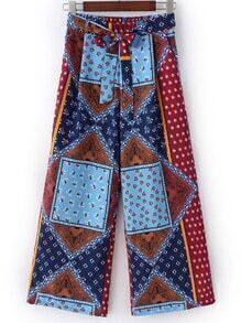 Multicolor Elastic Tie Waist Bow Print Wide Leg Pants