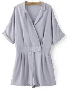 Grey Lapel Zipper Front Pockets Roll Cuff Romper