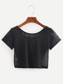Crop Black Mesh T-shirt