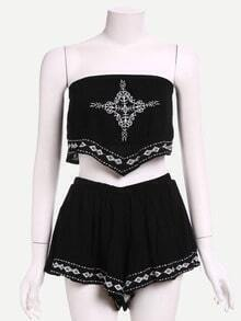 Embroidered Crop Bandeau Top With Shorts - Black