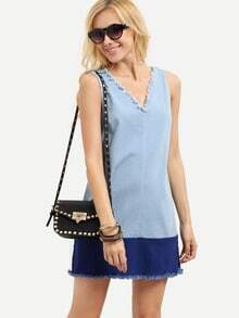 Blue Sleeveless V Neck Shift Fringe Dress