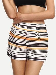 Multicolor Striped Casual Shorts