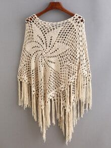 Apricot Hollow Tassel Poncho Sweater