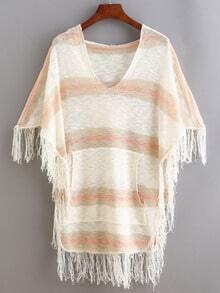 Multicolor Striped Fringe Poncho Sweater