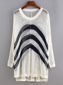 White Hollow Striped Knitted Sweater