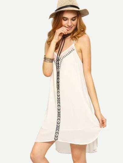 White Spaghetti Strap Shift Dress