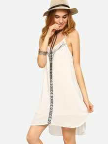 White Spaghetti Strap Shift Dress