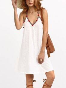 White Sleeveless Pom-pom Decorated Shift Dress