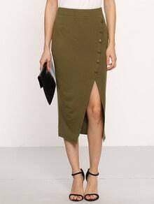 Army Green Zip Button Split Skirt