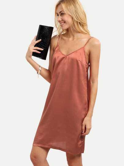 Pink Spaghetti Strap Shift Dress