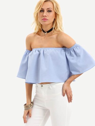 Blue Off The Shoulder Bell Sleeve Crop Blouse