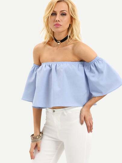 Trumpet Sleeve Bardot Swing Blouse