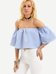 Blue Off The Shoulder Bell Sleeve Crop Blouse