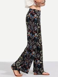 Black Floral Wide-leg Pants