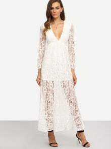 White V Neck Long Sleeve Lace Maxi Dress