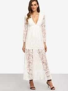 White V Neck Long Sleeve Lace Maxi Dress