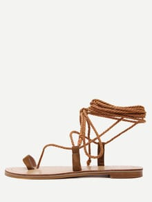 Sandalias cordón plataforma plana -marrón
