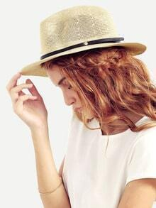 Beige Ribbon Accent Straw Hat