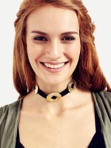 Gold Metal Embellishment Choker Necklace