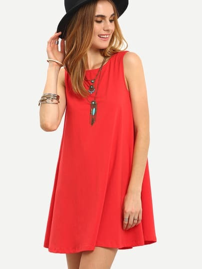 Tie V Back Tank Swing Dress