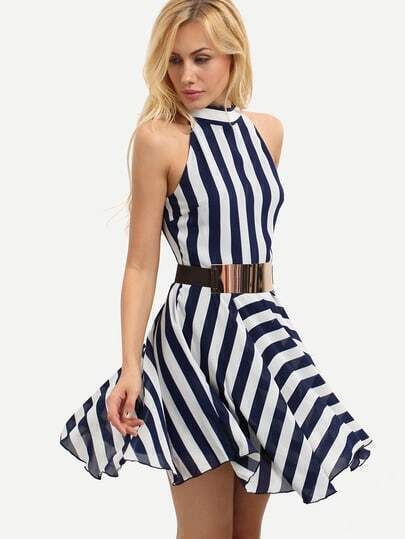 Multicolor Sleeveless Striped Crew Neck Dress