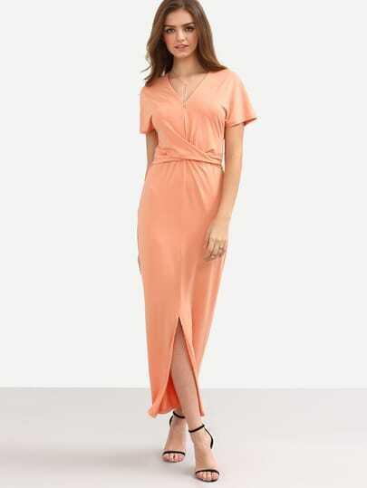 Pink Short Sleeve Tie Waist Split Dress