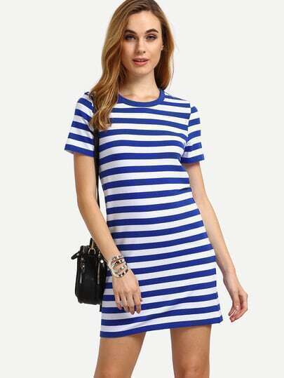 Multicolor Short Sleeve Striped Casual Dress