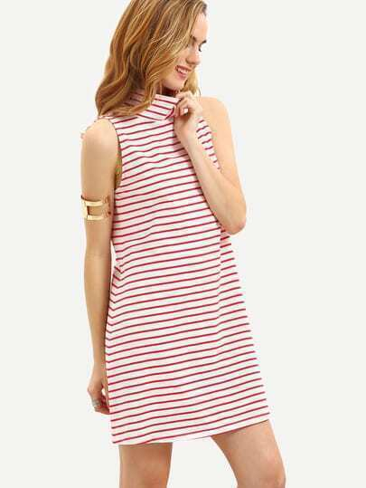 Multicolor Striped High Neck Shift Dress